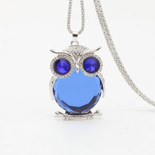 Popular Ladies Necklace Style Retro Cute Owl Mosaic Crystal Long Sweater Chain Necklace Jewelry Wholesale цена 2017