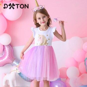 DXTON Unicorn Summer Girls Dress Flare Sleeve Kids Tutu Dress Patchwork Girls Party Vestidos Rainbow Cartoon Children Dress 3-8Y цена 2017