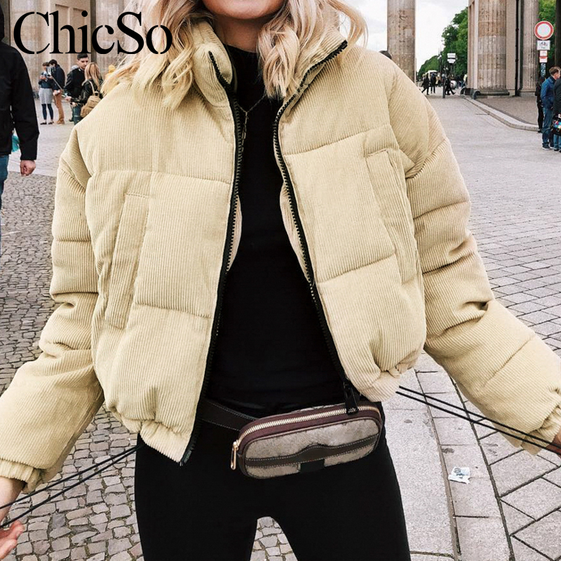 MissyChilli Casual down   parka   women jacket winter coat Female khaki streetwear thick coat Snow wear warm corduroy outerwear2019