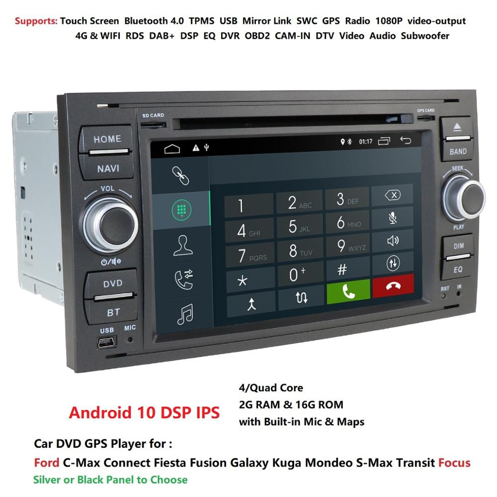 Car Multimedia Player <font><b>GPS</b></font> Android10.0 2 Din For <font><b>Ford</b></font>/Mondeo/Focus/<font><b>Transit</b></font>/C-MAX Car Radio Bluetooth DVR Auto radio Audio DAB MAP image