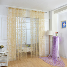 European Style Printed Design Home Decoration Modern Curtain Tulle Fabrics Organza Sheer Living Room Furniture Decor D30