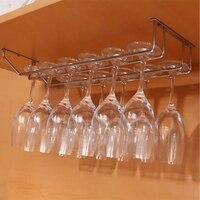 נירוסטה יין זכוכית מחזיק תליית שתיית משקפיים Stemware מתלה תחת ארון אחסון כפול שורה תליית בר מדף