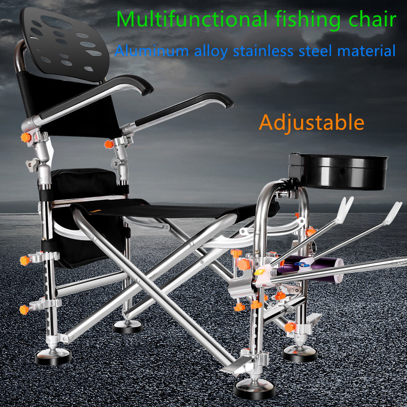 Stainless steel fishing chair folding portable multi-function table is lying fishing fishing chair stool new fishing chair seat