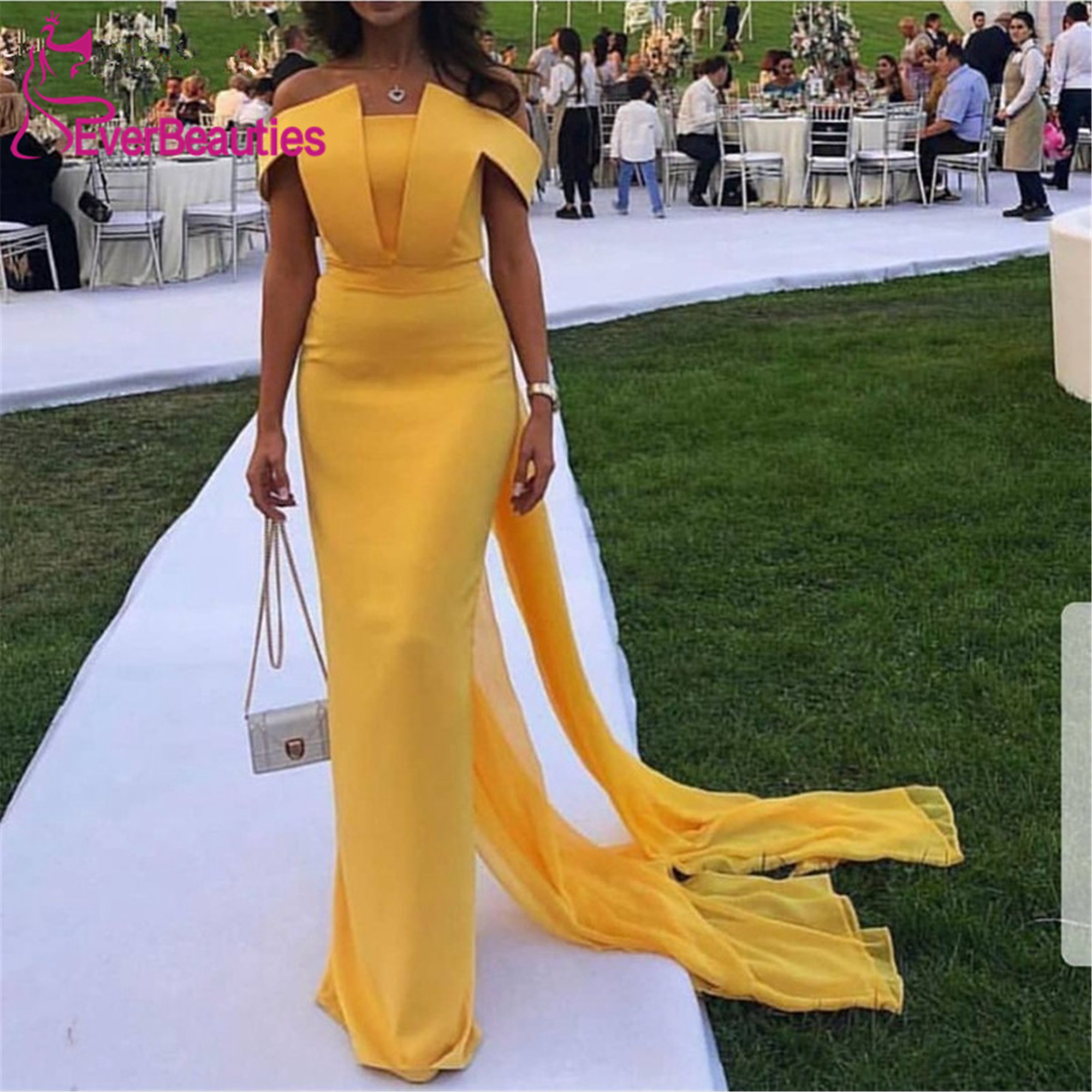 New Arrival Yellow   Evening     Dresses   Long 2019 Mermaid   Evening   Gown Simple Abiye abendkleider Dubai Robe De Soiree