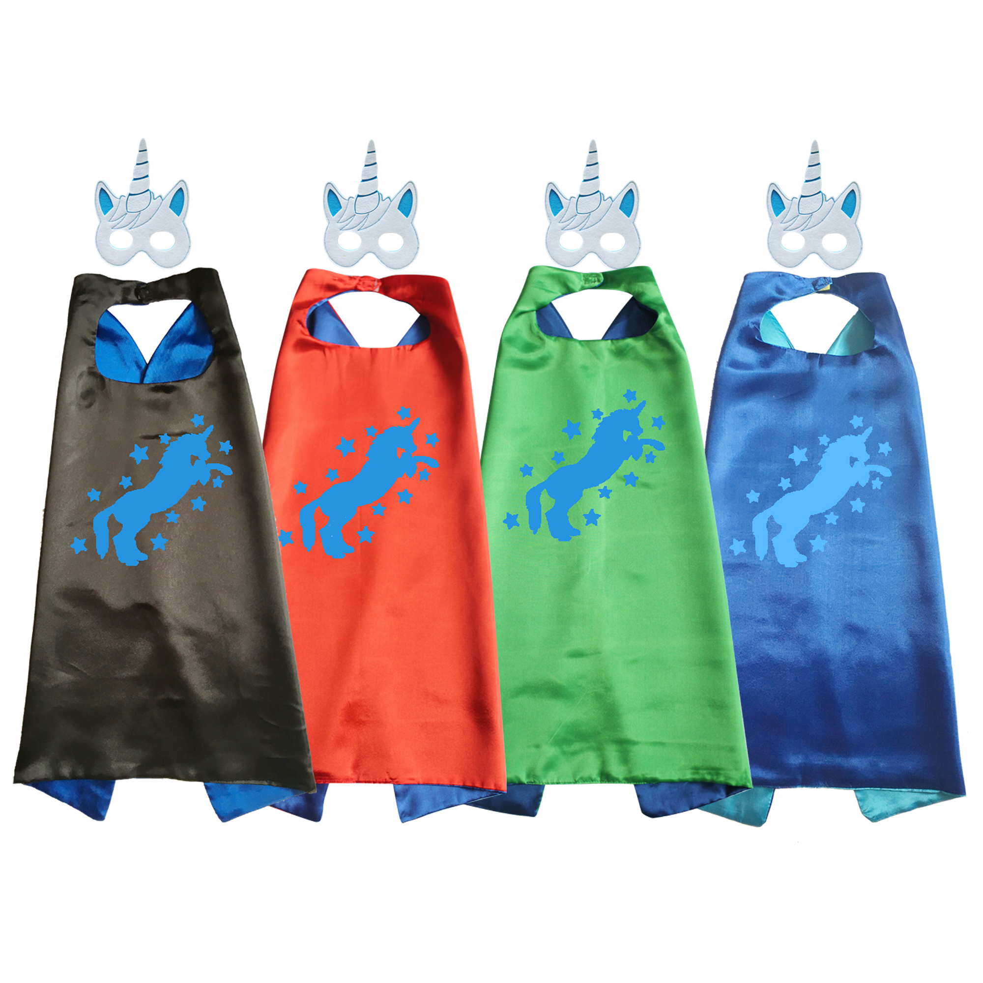 Unicorn Costume Satin Superhero Capes with Masks Girls Boys Dress Up Cosplay Birthday Party Favor