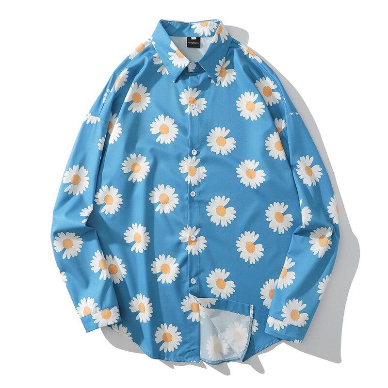 Mens Chrysanthemum Print Hawaii Beach Shirts Harajuku Streetwear 2020 Summer Long Sleeve Blouse Hiphop Unisex Orange Shirts Tops
