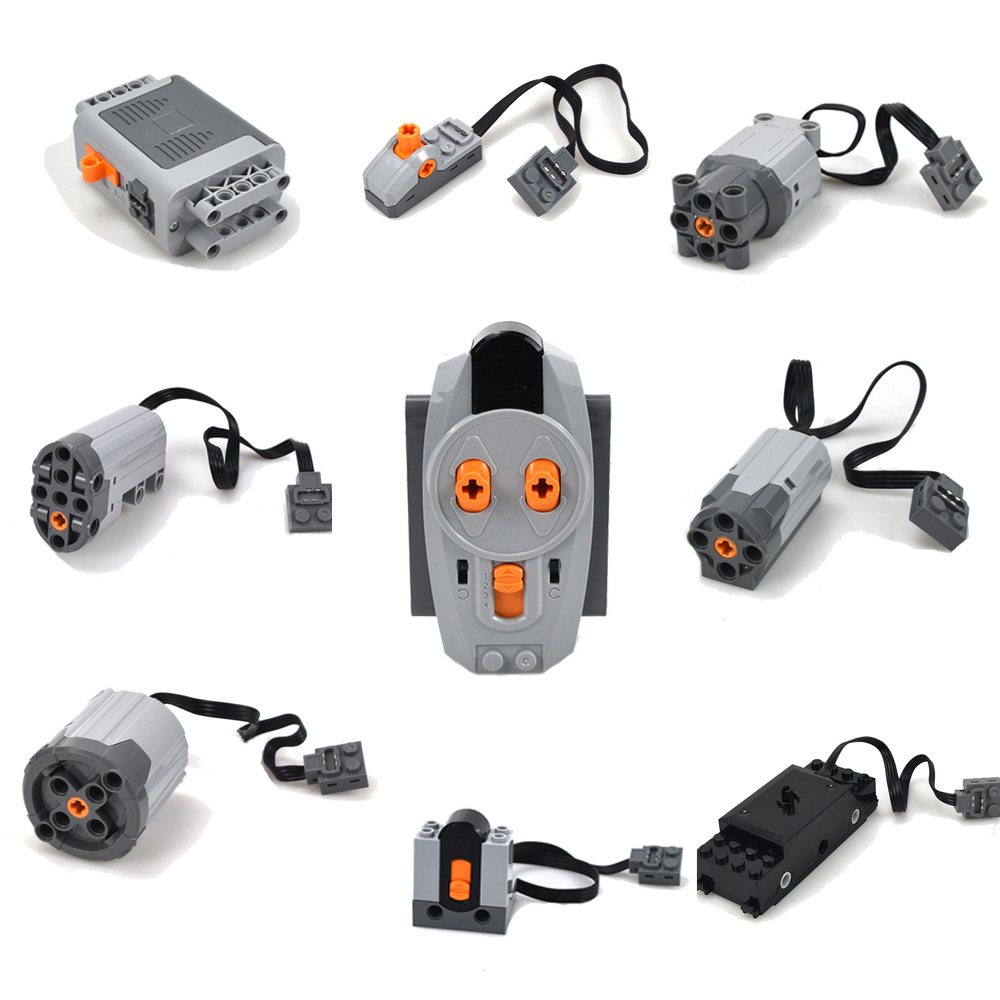 Motor Technic Series Train Remote Control Battery Box LED Light Power Functions With Legoinglys MOC Building Block Toys