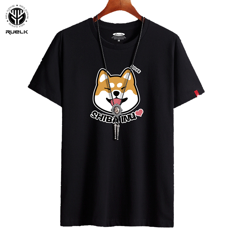 RUELK 2020 Summer New T-shirt Fashion Trend Street Hip-Hop Personality Dog Print Casual Plus Size Men's Short-Sleeved T-Shirt