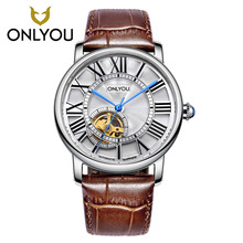 ONLYOU Mens Watches Top Brand Luxury Dress Leather Watchband Mechanical Watch  Male Wristwatch 6961