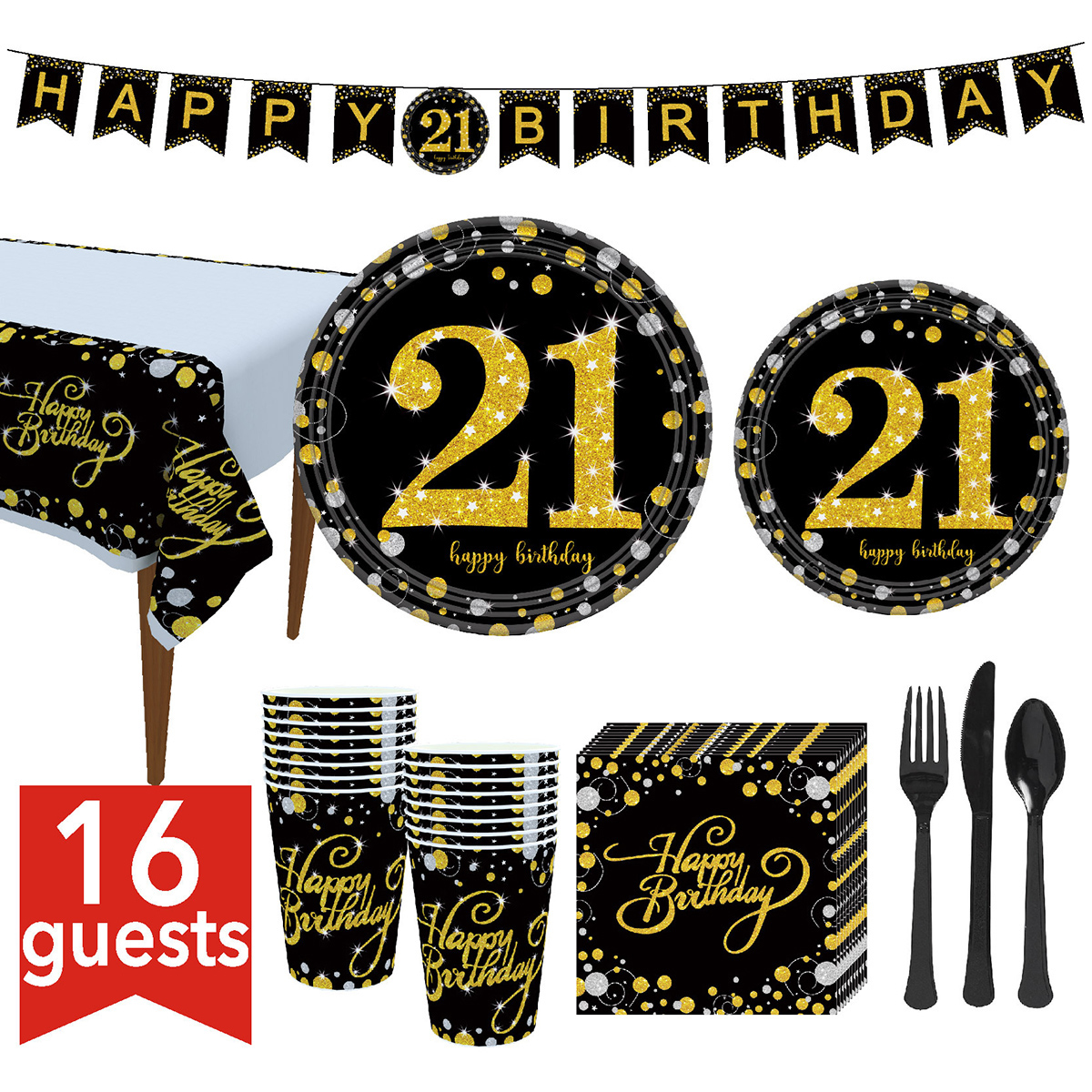 2019 Birthday Party Tableware Kit Birthday Party Supplies Tableware Set Plates Cups Napkins Banner Tablecloth Fork Knife Spoon