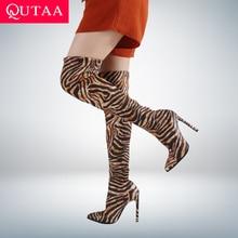 QUTAA 2021 Thin High Heel Over The Knee Women Boots Stretch