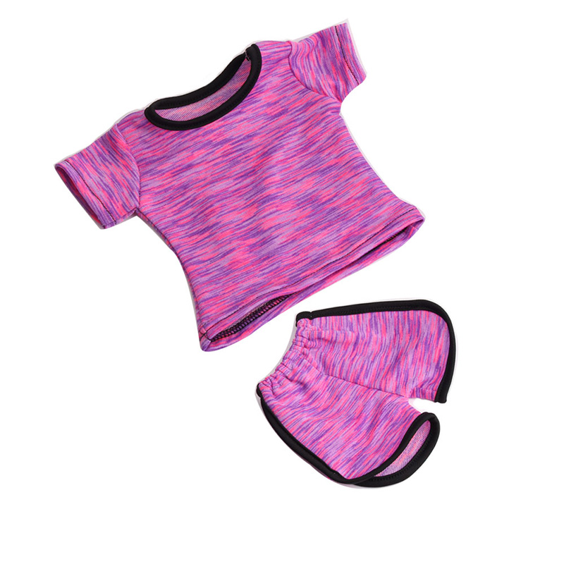 18 Inch Girls Doll Clothes Tracksuit Ball Uniform Sport Shorts With  American Newborn Dress Toys Fit 43 Cm Baby Dolls C52