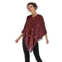 Fashion Autumn Sweater Cloak Smock Ladies Cover Up Shoulder Women Pullover Tops Fringe Decoration Design