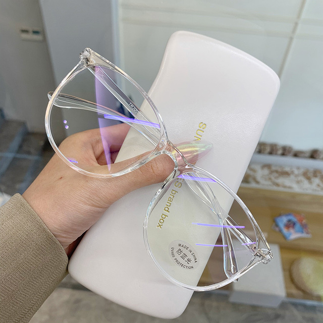Montatura per occhiali da Computer trasparente donna uomo occhiali da vista rotondi Anti luce blu occhiali da vista occhiali da vista ottici 1