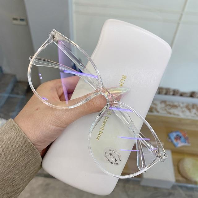 Transparent Computer Gläser Rahmen Frauen Männer Anti Blau Licht Runde Brillen Blockieren Gläser Optische Spektakel Brillen