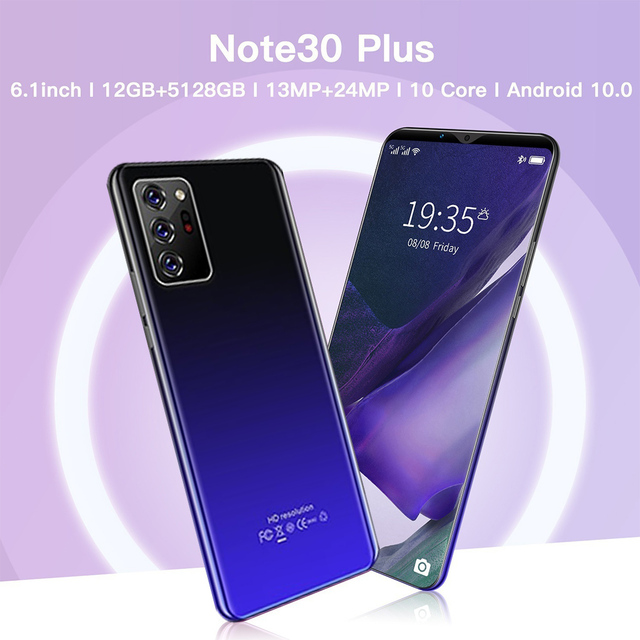 Note30 Plus Smartphone 6.1 Inch Dual SIM Smart Phone 4G Facial Unlocking 13MP+24MP Mobile Phone US Plug EU Plug 5