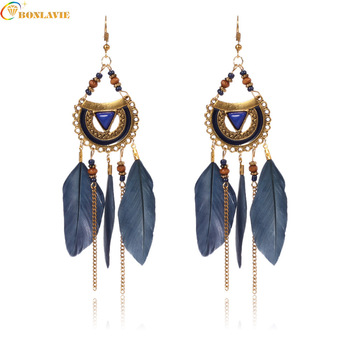 New Bohemia Feather Beads Long Earrings for Women Jewelry fashion Chain Tassel Drop Statement Darrings For Ladies image