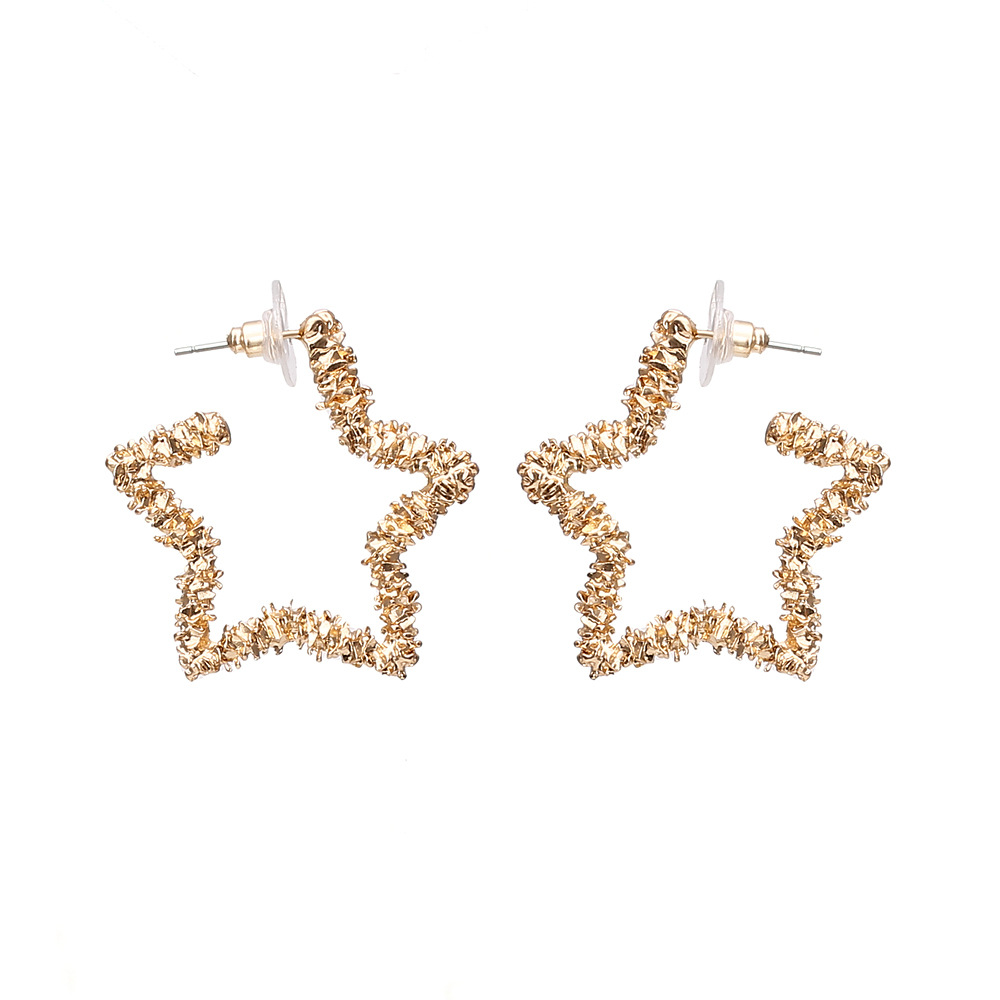 Fashion Simple Design Geometric Metal Big Hollow Out Star Drop Earrings For Women Statement Gold Earrings Jewelry Accesories