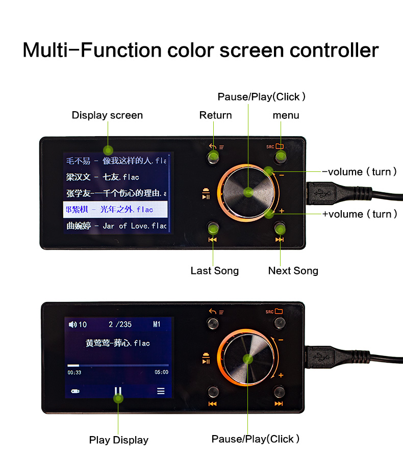 Sennuopu Car Digital DSP Amplifier X10 Color Screen LED Remote Control Lossless Music USB Hard Drive Playback Controller