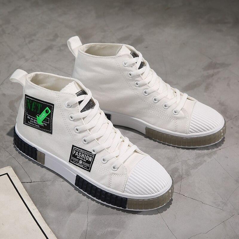 Купить весна 2021 мужская парусиновая обувь цвет черный белый вулканизированная