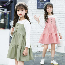 Retro Long Sleeve Casual Loose Button Dress For Baby Girls Dress Clothes Cute Children Clothing Girls Dresses in Kids 3-9 Years retro long sleeve casual loose button dress for baby girls dress clothes cute children clothing girls dresses in kids 3 9 years