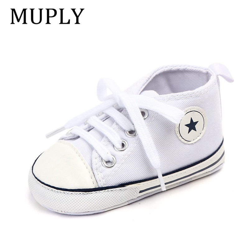 Baby Canvas Classic Sports Sneakers Newborn Baby Boys Girls Print Star First Walkers Shoes Infant Toddler Anti-slip Baby Shoes 5