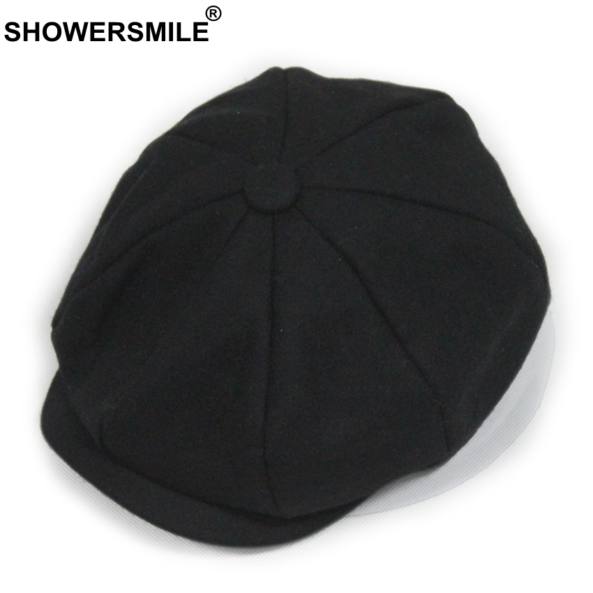 SHOWERSMILE Black Grey Wool Hat Man Newsboy Caps Herringbone Tweed Warm Winter Octagonal Hat Male Female Gatsby Retro Flat Caps