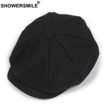 SHOWERSMILE Black Grey Wool Hat Man Newsboy Caps Herringbone Tweed Warm Winter Octagonal Male Female Gatsby Retro Flat