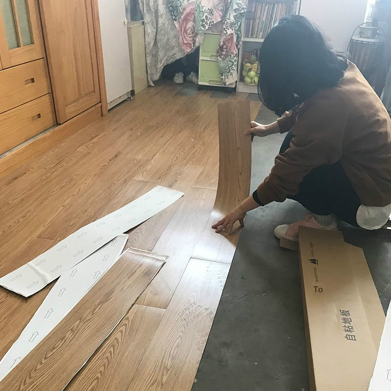 Bedroom Decor Room Decoration Wood Grain PVC Floor Stickers Waterproof  Adhesive Cement Floor Sticker Thickened Plastic Leather