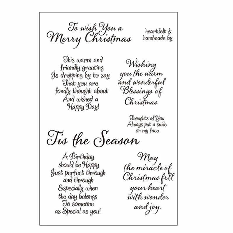 Merry Christmas Sentiments Sayings Phrase Rubber Clear Stamp//Seal Scrapbook//Photo Decorative Card Making Clear Stamp