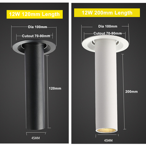 Image 3 - Preto/branco longo tubo teto recesso led ponto lâmpada ângulo rotativo luz de teto 12w para cozinha quarto imagem tv fundo