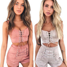 New Style Women Clubwear Summer 2Pcs Tracksuit Hollow Out Lace-up Bodycon Tank Crop Tops Empire Criss Cross Shorts Pants Clothes