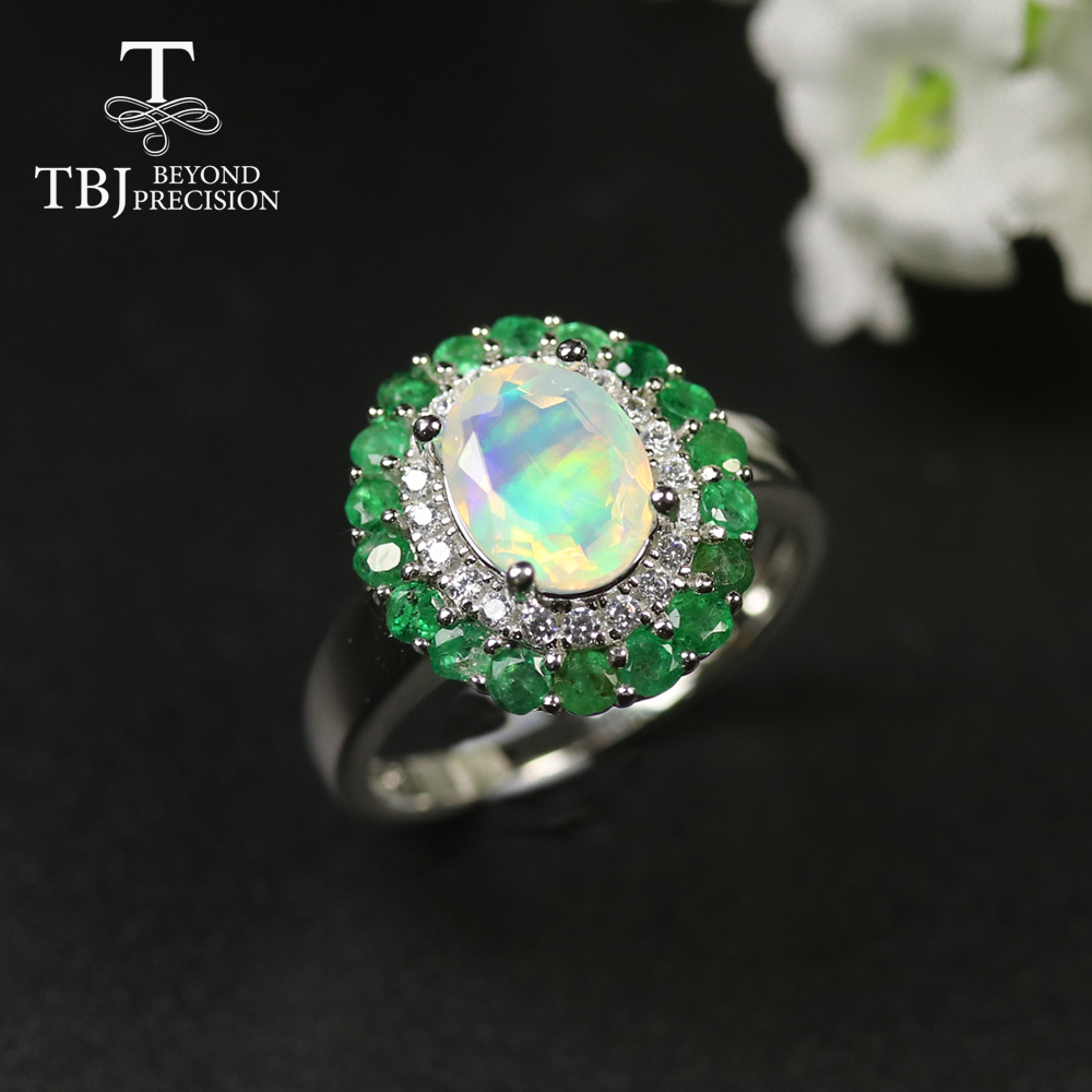 TBJ,Natural Ethiopian Rainbow Opal Emerald Rings Match Earrining Engagement Ring  925 Sterling Silver Gemstone Jewelry Women