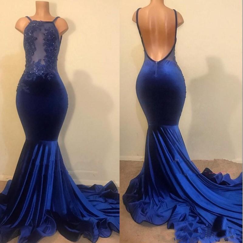 Halter Royal Blue Mermaid   Prom     Dresses   Lace Applique Backless Sweep Train Backless robes de soirée Party   Dresses