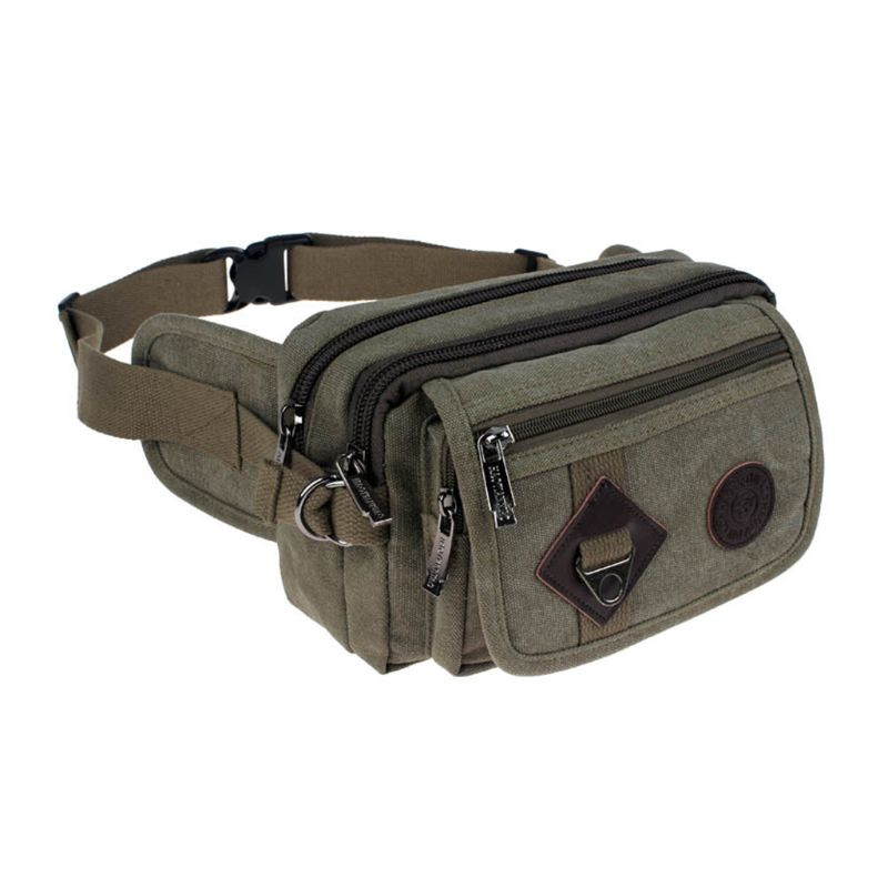 Canvas Slanting Pockets Riding Close-fitting Anti-theft Small Waist Pack Outdoor Sports Running Man Bag