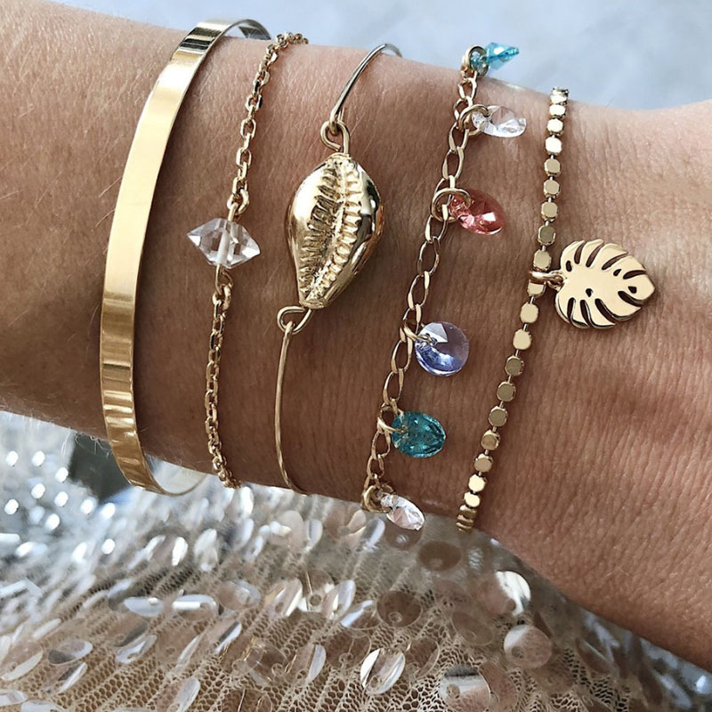 5 pcs/set Gold Shell Charm Bracelets for Women Colorful Crystal Beads Gold Link Chain Bracelets Set Gold Beads Strand Braclet