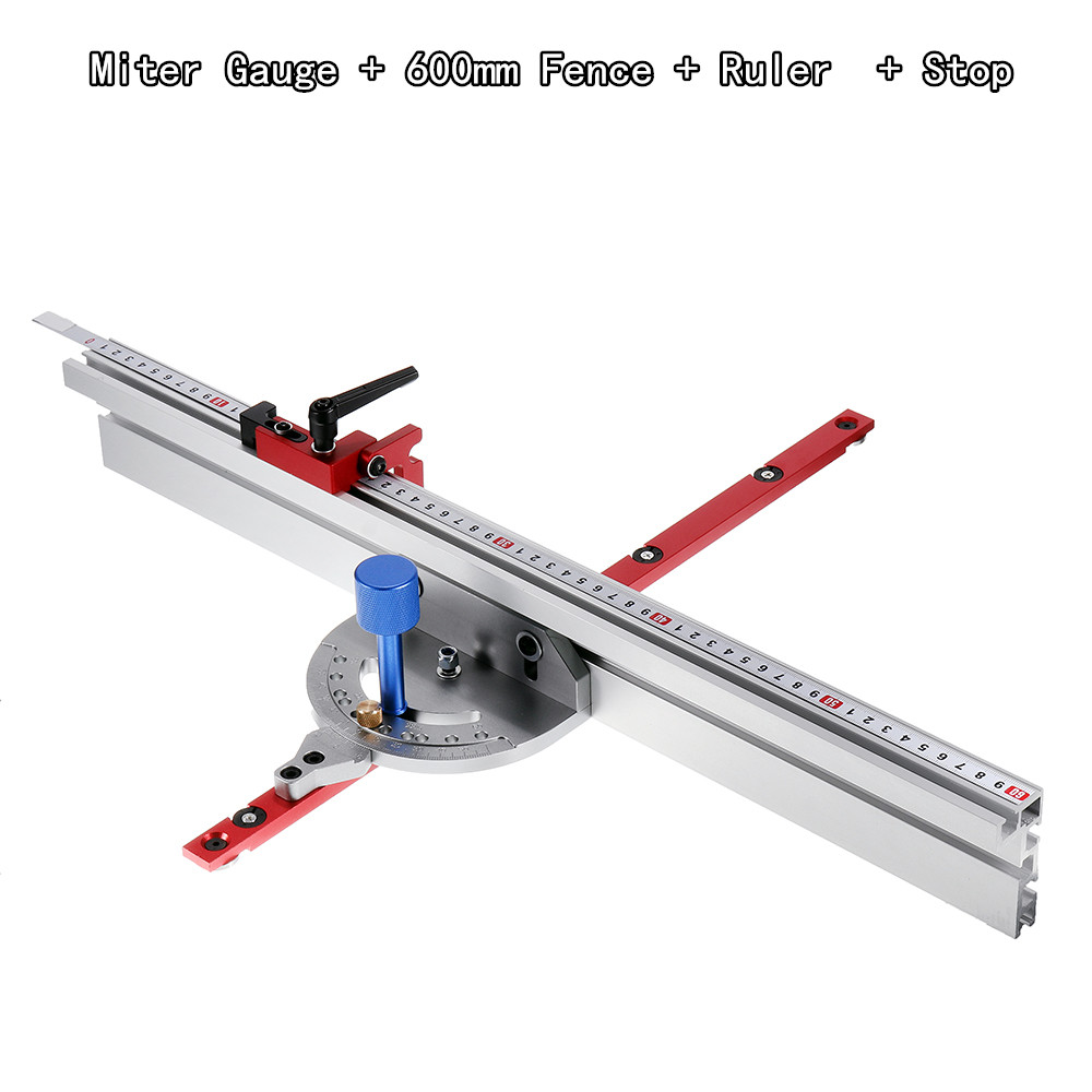 450mm Miter Gauge System with 600 800mm Fence and Stop Sawing Assembly Ruler for Table Saw Router Miter Gauge Woodworking Tool