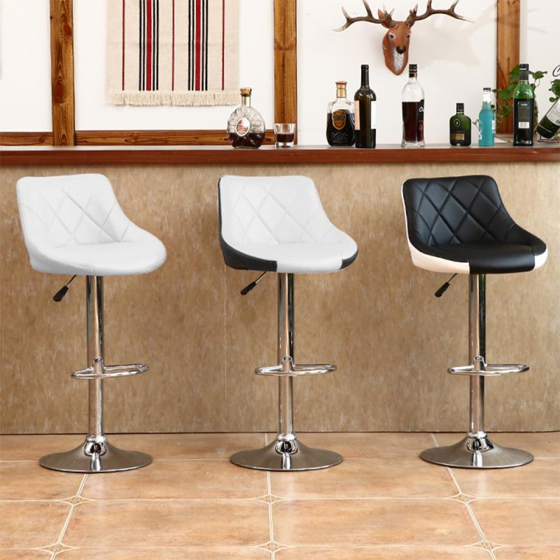 2PCS/Set High Quality Modern Fashion Bar Chair Soft PU Leather Adjustable Kitchen Chairs With Footrest BarStools Funiture HWC