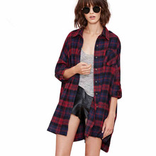 autumn women fashion Single breasted checkered shirt coat lapel long sleeve loose plaid shirt tops leisure blouses casual female oblique plaid lapel single breasted mens shirt