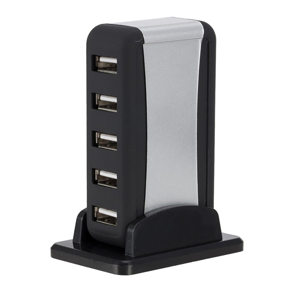 Vertical 7 Ports Hub Distributor USB Hub With Base Power Supply External Splitter 480Mbps Plug Play Not Suit Mac OS X
