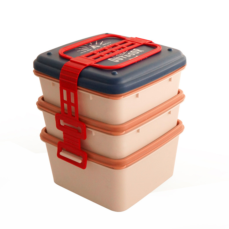 Letter Pattern Large Capacity Multilayer Lunch Box Dinnerware Food Storage Container Portable Bento Box Outdoor Tableware in Lunch Boxes from Home Garden
