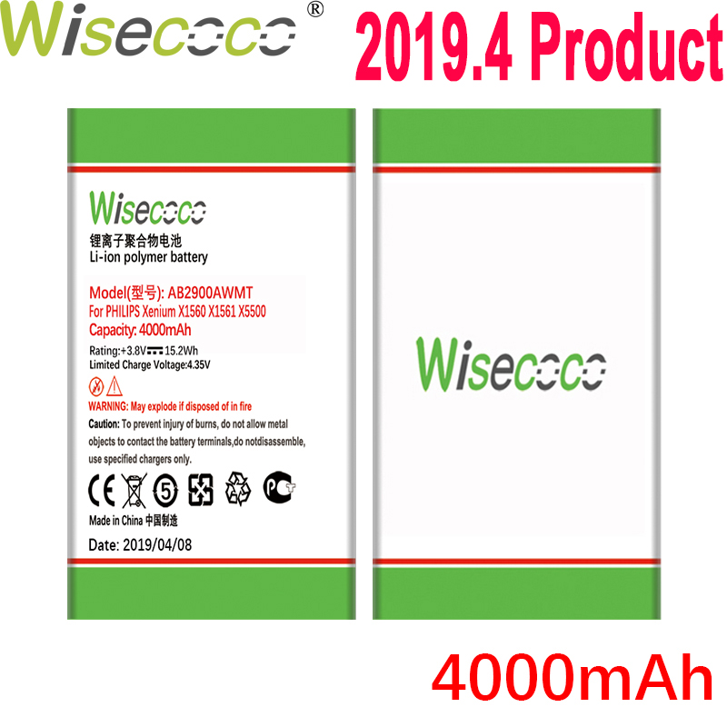 WISECOCO 4000mAh AB2900AWMT AB2900AWMC Battery For PHILIPS Xenium X1560 X1561 X5500 CTX1560 CTX1561 CTX5500 Phone+Tracking Code image