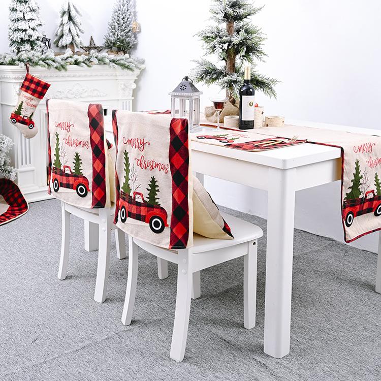 Клетчатая Рождественская салфетка под приборы льняная скатерть