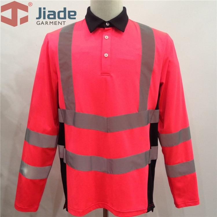 camisa de seguranca cor de rosa de alta visibilidade masculina de manga longa reflexiva camisas de