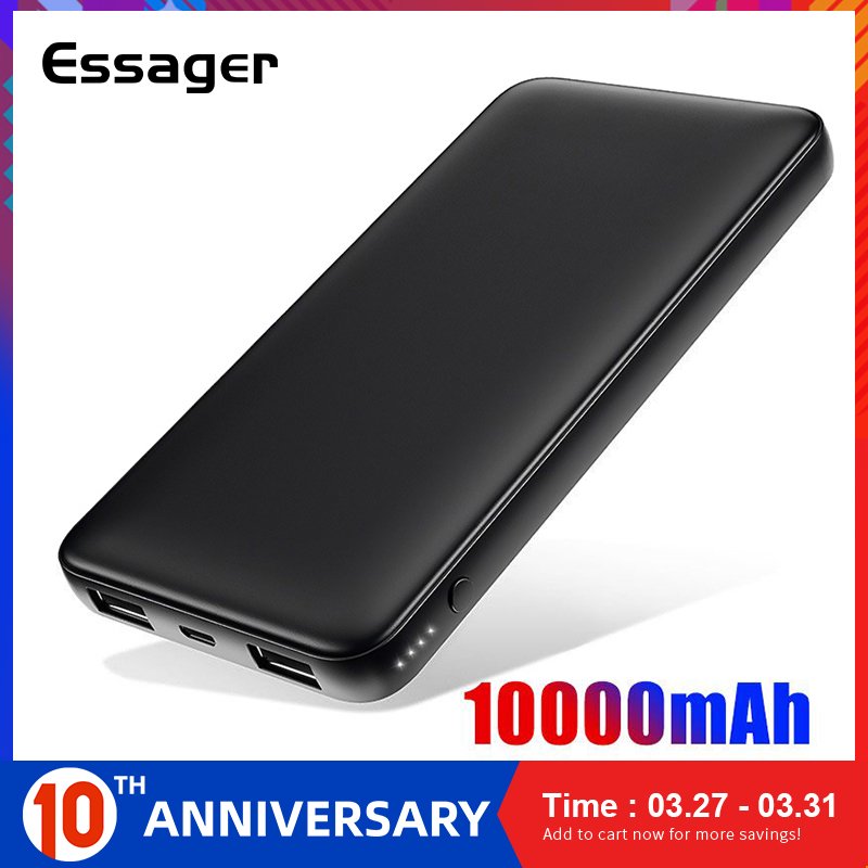 Essager Slim Power Bank 10000mah Dual USB Powerbank 10000 mAh  Poverbank Portable Charger External Battery For Redmi Note 8 ProPower  Bank