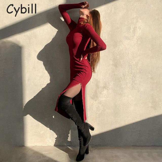 Cybill Long Sleeve Turtleneck Midi Dress Split Autumn Winter Ribbed Knitted Dress Casual Red Black Dresses Women 4