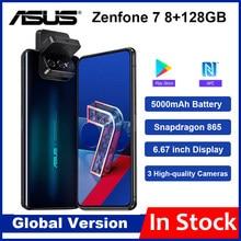 Versão global asus zenfone 7 8gb ram 128g rom 5g smartphone snapdragon 865 5000mah nfc android q 90hz exibir telefone móvel