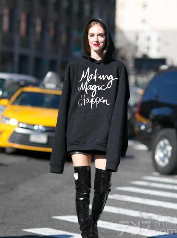 الأوروبية/الأمريكية الشتاء الدافئة هوديي طباعة رسائل مضحك المرأة البلوز طويلة الأكمام Harajuku هوديس ملابس عصرية بلايز