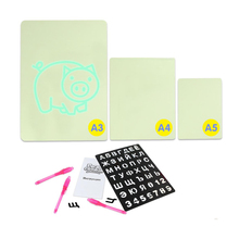 Magic Russian Language Drawing Board Set with Night Light In Dark Children Funny Educational Toy Luminous Writing Board for Kids