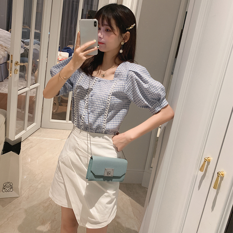 Mishow Blue Plaid Blouse Female 2019 Summer New Square Collar Loose Blouses Puff Short-sleeved Retro Women Tops MX19B4302